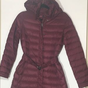 LANDS END XS Down Puffer Long Belted coat!